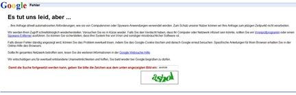 Google-Fehlerseite