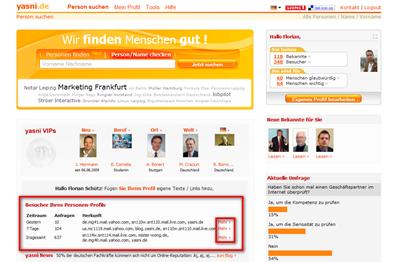 Die Besucher Ihres Personen-Profils auf der Yasni-Startseite