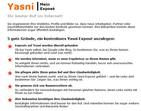 Yasni Exposé: Zeigen Sie sich besser - im gesamten Internet