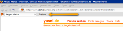 Yasni-Toolbar im Firefox - dt.