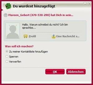 Mareen Gebert will mich als ICQ-Kontakt hinzufügen