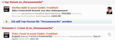 Personensuche auf yasni.de