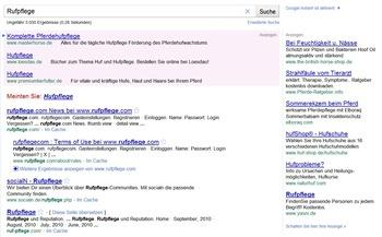 Rufpflege bei Google Instant