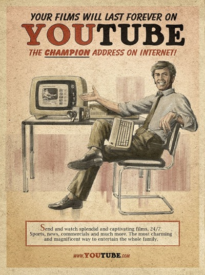 Facebook, Twitter, Skype, Youtube in the 1960′s Posters