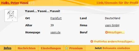 Ihr Profil bei yasni.de- Peter Yasni (Frankfurt, yasni GmbH, 39, VIP-Rank 191)