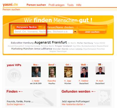 Die neue Yasni-Startseite