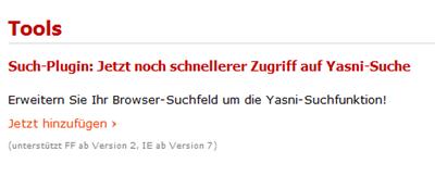 Such-Plugin: Jetzt noch schnellerer Zugriff auf Yasni-Suche