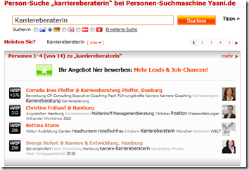 "Person-Suche ""karriereberaterin"" bei Personen-Suchmaschine Yasni.de"